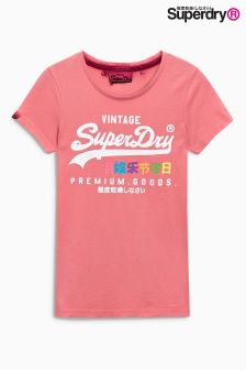 Superdry Beach Pink Premium Goods Rainbow Tee