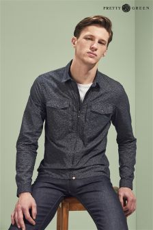 Pretty Green Navy Zip Through Shirt