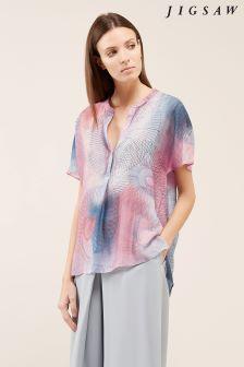 Jigsaw Pink Spirograph Print Silk Blouse