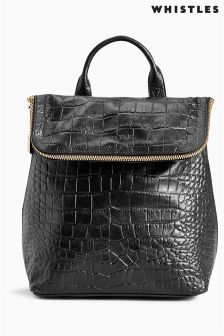 Whistles Black Mini Verity Croc Effect Backpack