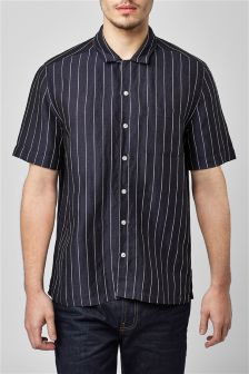 Short Sleeve Stripe Rever Collar Shirt