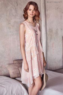 Peach Mint Velvet Simone Print Ruffle Dress