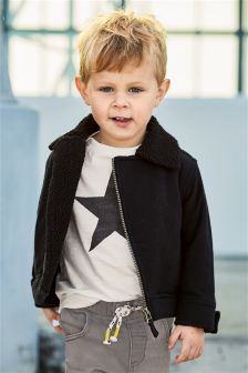 Borg Lined Biker Jacket (3mths-6yrs)