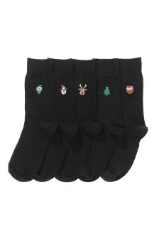 Christmas Embroidery Socks Five Pack