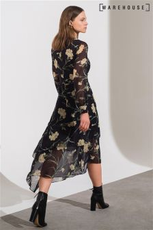 Warehouse Black Carnation Print Midi Dress