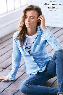 Abercrombie & Fitch Blue/White Stripe Shirt