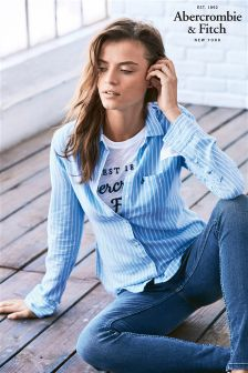 Abercrombie & Fitch Blue/White Stripe Shirt