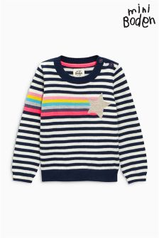 Boden Navy Rainbow Stripe Shooting Star Jumper