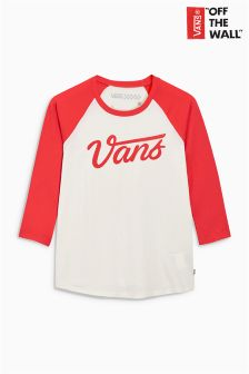 Vans White/Red Dugout Logo Tee