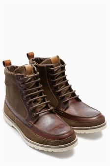 Leather Mix Apron Boot
