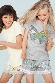 Butterfly Floral Pyjama Shorts Two Pack (3-16yrs)