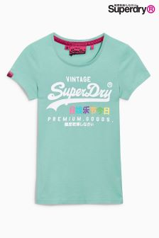 Superdry Foam Green Premium Goods Rainbow Tee