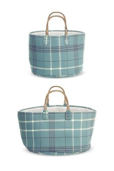 Set Of 2 Check Baskets