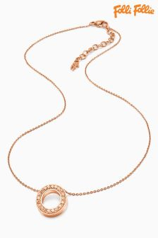 Folli Follie Rose Gold Classy Crystal Necklace