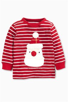 Long Sleeve Santa Christmas T-Shirt (3mths-6yrs)