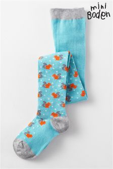 Boden Pastel Turquoise Squirrels Patterned Tights