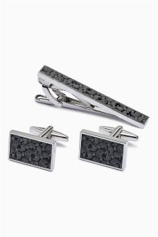 Paisley Cufflinks And Tie Clip Set