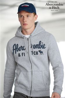 Abercrombie & Fitch Grey Logo Zip Through Hoody