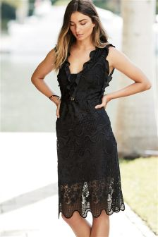 Ruffle Lace Midi Dress