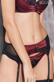 Figleaves Bordeaux Grace Silk Suspender