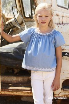 Abercrombie & Fitch Chambray Off The Shoulder Blouse