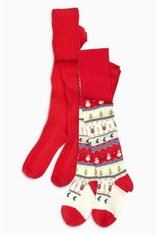 Christmas Fairisle Pattern Tights Two Pack (3-16yrs)