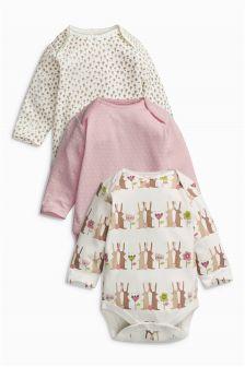 Bunny Long Sleeve Bodysuits Three Pack (0mths-2yrs)