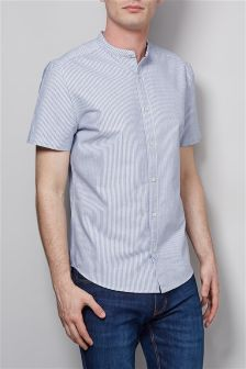 Short Sleeve Stripe Grandad Shirt