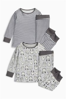 Panda And Stripe Snuggle Pyjamas Two Pack (9mths-8yrs)