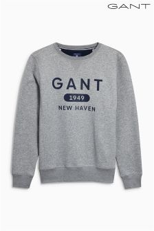 Gant Grey Logo Crew Neck Sweater