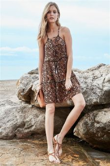 Ditsy Print Tassel Dress