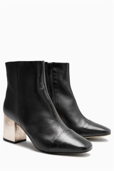 Feature Heel Leather Boots