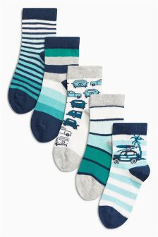 Blue Socks Five Pack (Younger Boys)
