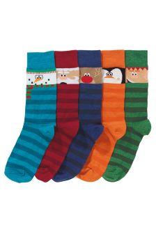 Character Stripe Socks Five Pack