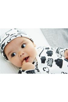 Cloud Print Sleepsuit Two Pack And Reversible Hat (0mths-2yrs)