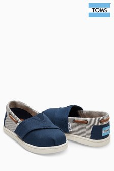 Toms Navy Canvas Stripes Velcro Bimini Shoe