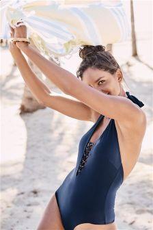 Lace-Up Halterneck Swimsuit