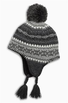 Grey Fairisle Pattern Hat (Younger Boys)