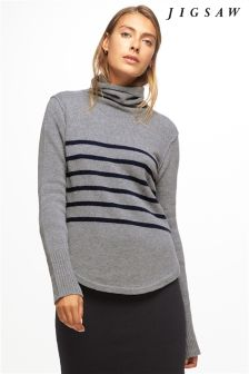 Jigsaw Marl Grey Dark Navy Striped Cashmere