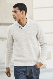 Textured Shawl Neck Sweater