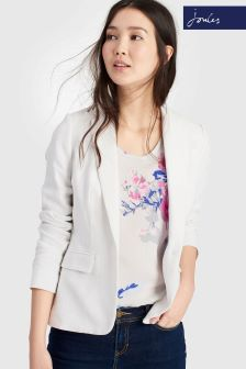 Joules Kira Bright White Linen Mix Blazer