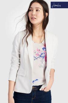 Joules Kira Bright White Linen Mix Blazer