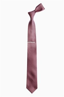 Textured Tie And Tie Clip