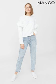 Mango White Slogan Sweater