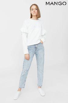 Mango White Slogan Sweater