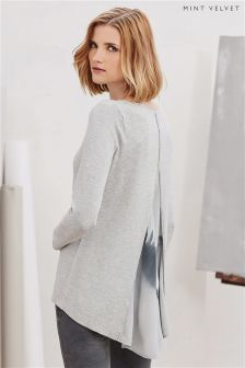 Mint Velvet Grey Macie Print Godet Back Knit