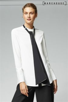 Warehouse Cream Colourblock Tie Neck Blouse