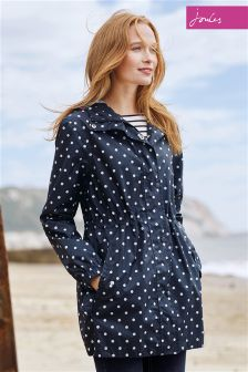 Joules Navy Spot Golightly Waterproof Pack Away Parka