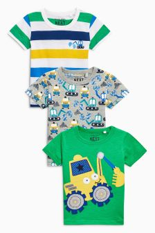 Short Sleeve Digger T-Shirts Three Pack (3mths-6yrs)