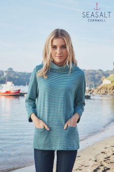 Seasalt Navy Stripe Brehat Sweatshirt